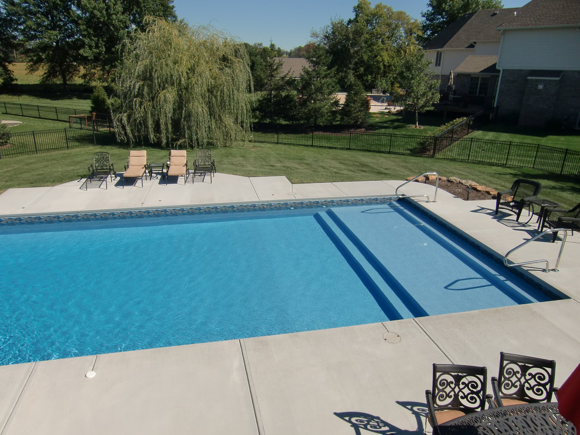 Pool Liner Designs For Inground Pools swiming pools beach pebble on blue with liners that we have replaced also natural blue pool Sunshelf Vinyl Liner Indianapolis